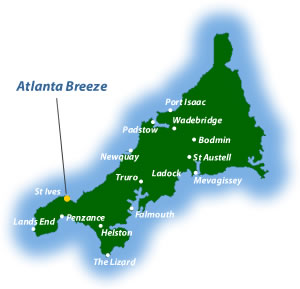 location map showing the location of Atlanta Breeze holiday cottage accommodation in St Ives Cornwall